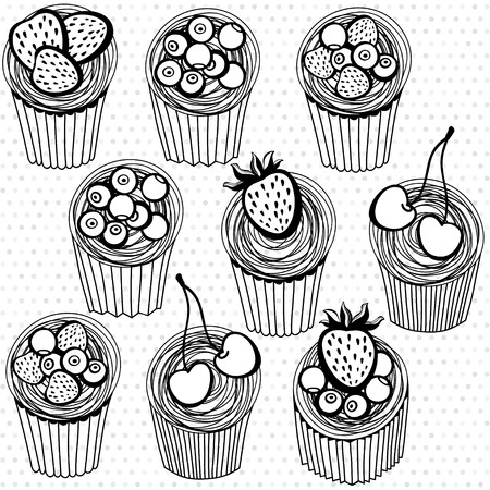 Seamless pattern with hand drawn cupcakes on a polka dot background Vector
