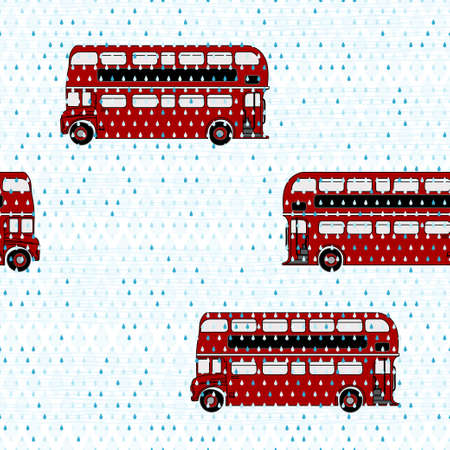 Seamless pattern with double-decker buses under the rain Vector