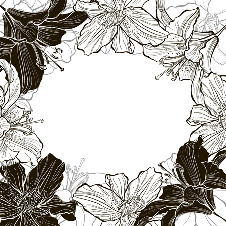 space for type: Floral monochrome frame with lilies. Flower background can be used as an invitation or greeting card.Vector illustration with space for text. Illustration