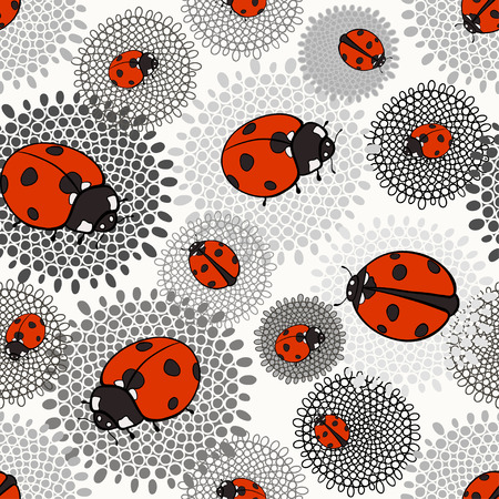 flower ladybug: Seamless pattern with ladybugs on a monochrome floral background.