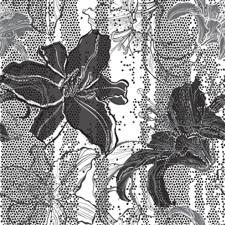 Monochrome seamless pattern with lilies. Hand-drawn floral background. Vector