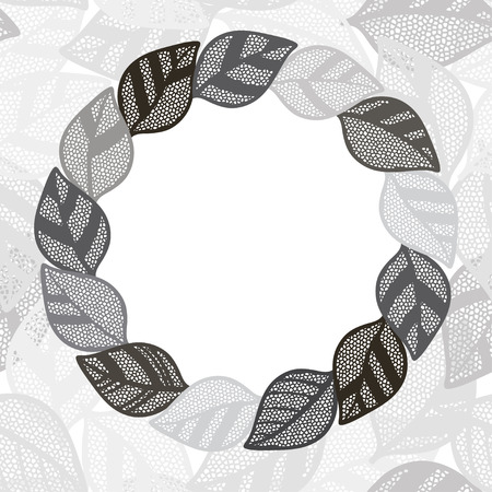 Floral monochrome round frame with abstract  leaves. Flower background can be used as an invitation or greeting card.Vector illustration with space for text. Vector