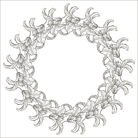 space for type: Floral monochrome round frame with lilies. Flower background can be used as an invitation or greeting card.Hand drawn vector illustration with space for text.
