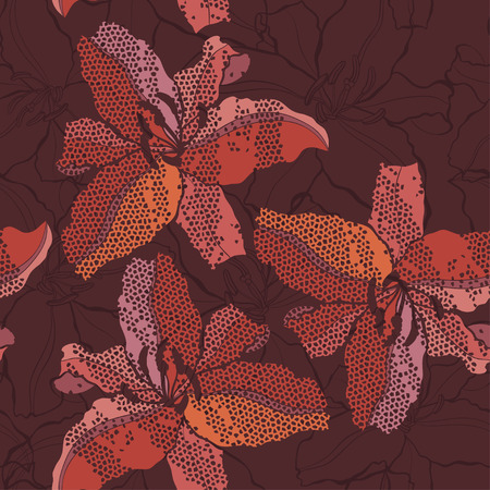 Abstract floral seamless background with  lilies. Vector