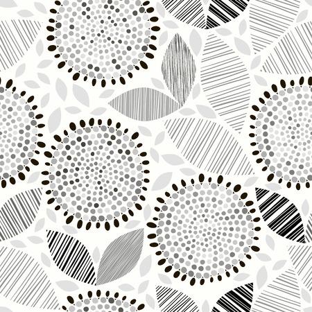 Monochrome naadloze patroon van de abstracte bloemen.