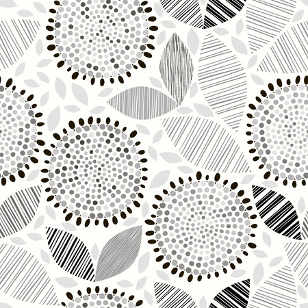 camomile flower: Monochrome seamless pattern of abstract flowers.