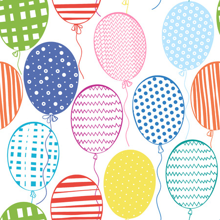 Seamless pattern with multicolored  balloons.Hand-drawn background.