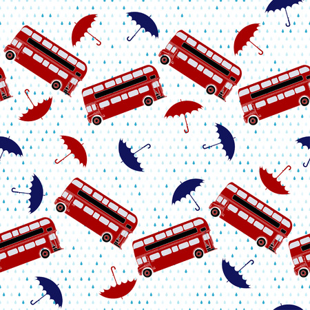 Seamless pattern with double-decker buses and umbrellas under the rain. Vector