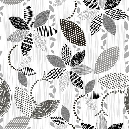 抽象的な花の白黒のシームレスなパターン。