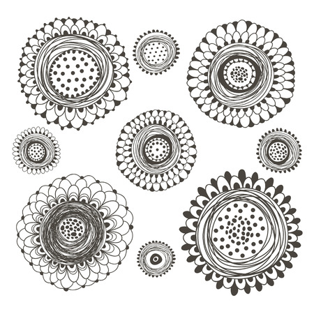 Flower set. Hand drawn vector illustration with isolated doodle flowers.