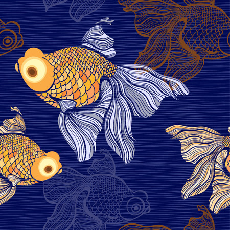 ichthyology: Seamless pattern with goldfish. Illustration