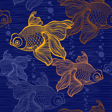 Seamless pattern with goldfish. Vector