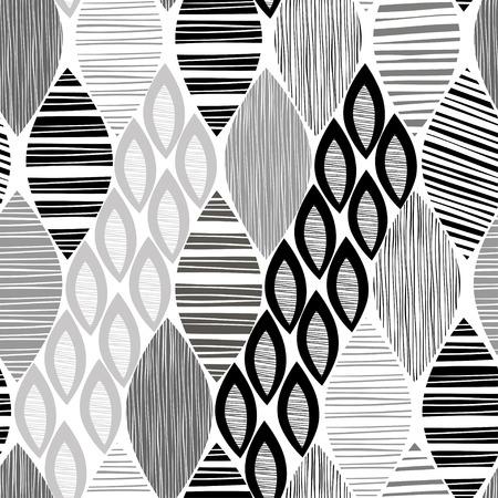 ストライプの抽象的なシームレスな白黒パターンを残します。  イラスト・ベクター素材