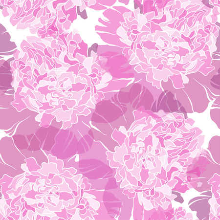 Seamless pattern with peonies. Vector