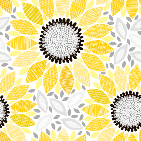 Seamless pattern with sunflowers. Abstract floral background.  イラスト・ベクター素材