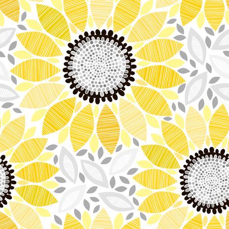 ヒマワリとのシームレスなパターン。抽象的なフローラル背景。  イラスト・ベクター素材