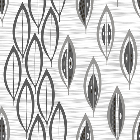 Seamless monochrome pattern with  abstract leaves. Иллюстрация