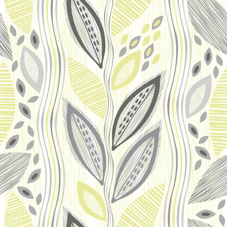 Seamless pattern  of abstract leaves. Hand-drawn floral background.