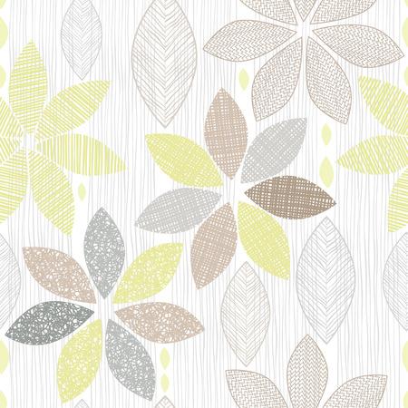 抽象的な花のシームレスなパターン。  イラスト・ベクター素材