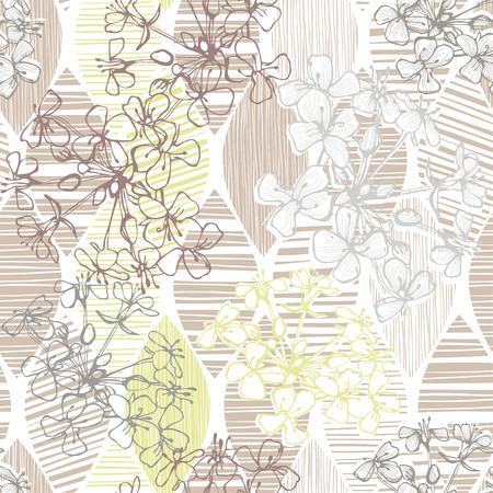 抽象的な花の白黒のシームレスなパターン。手描き花の背景。