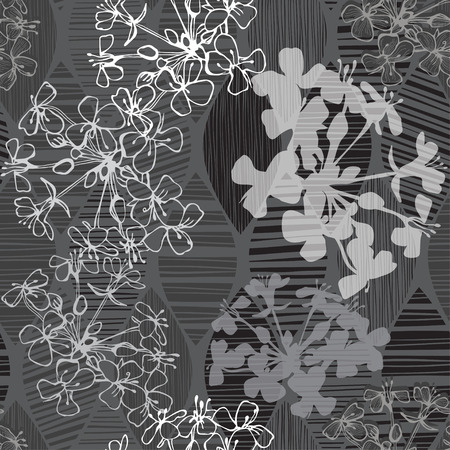 an inflorescence: Monochrome seamless pattern of abstract flowers. Hand-drawn floral background. Illustration