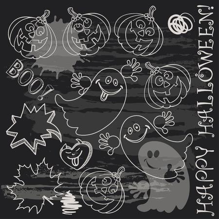 Halloween doodle set elements on black board. Vector