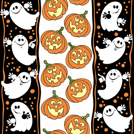 Halloween seamless background with ghosts and pumpkins. Vector