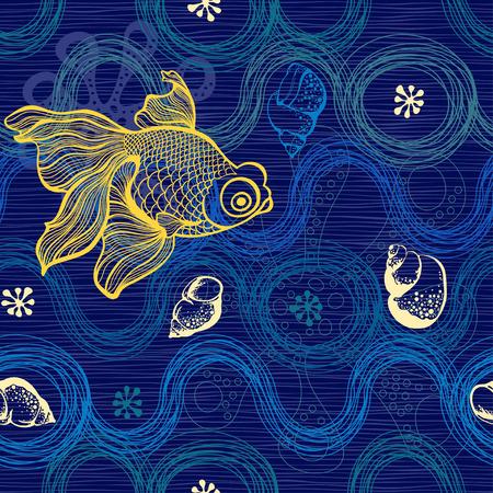 海洋のシームレスなパターン。手には、貝殻、魚やヒトデのベクトル図が描かれました。