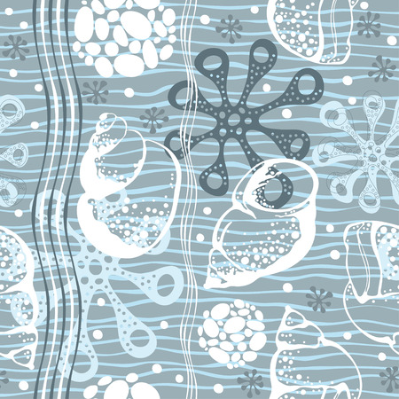 Marine seamless pattern. Hand drawn vector illustration with seashells and starfish.