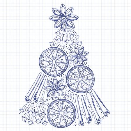star anise: Xmas Decorations. Abstract Christmas Tree, cinnamon sticks, star anise, orange, clove. Doodle sketch.