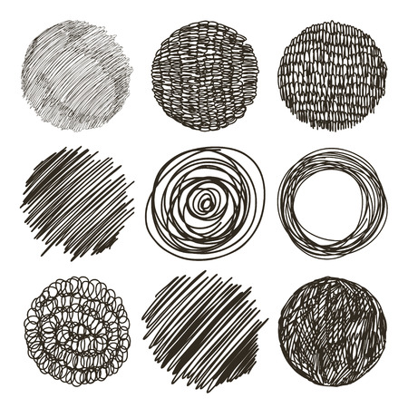 scrape: Vector set of hand drawn circles. Sketch, set of textures. Elements for your design.