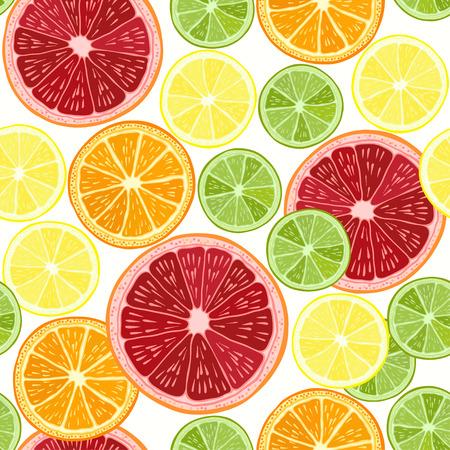 Seamless pattern with  citrus fruit - grapefruit, orange, lime and lemon. Hand drawn illustration. Vector