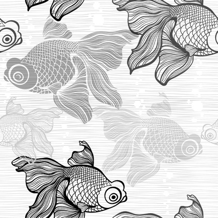 gill: Monochrome seamless pattern with fish.