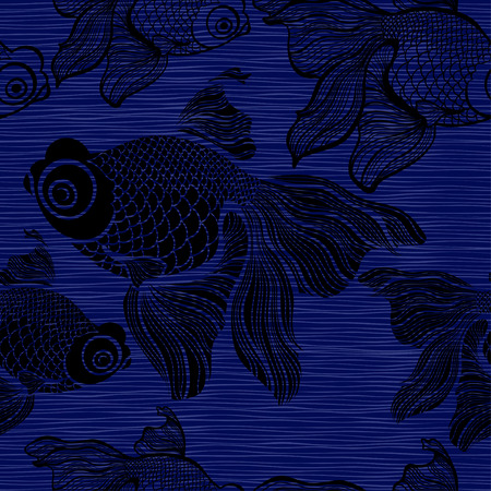 ichthyology: Seamless pattern with black fishes.