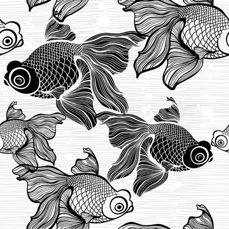ichthyology: Monochrome seamless pattern with fish.