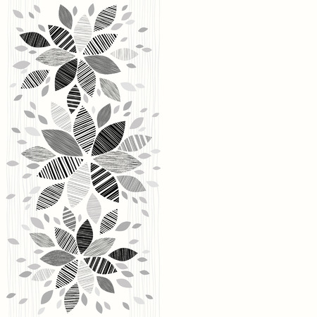 space for type: Floral monochrome  background can be used as an invitation or greeting card.Vector illustration with space for text. Illustration