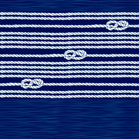 파란색 배경에 해양 로프와 노트와 원활한 패턴입니다.