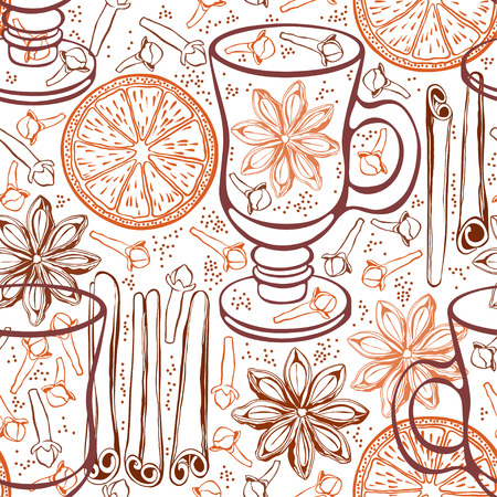 Seamless background with mulled wine and spices. Hand-drawn vector illustration. Vector
