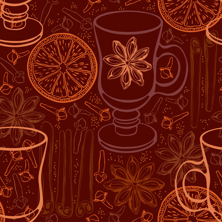 Seamless background with mulled wine and spices. Vector illustration.
