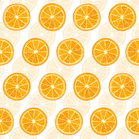 Seamless background with orange slices. Vector illustration. Vector