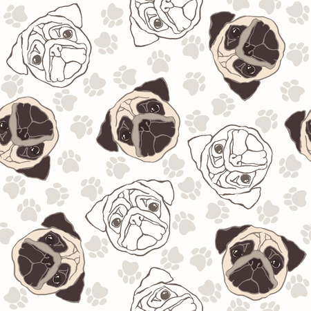 wrinkled face: Vector seamless pattern with pug-dog and traces.