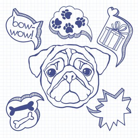 해학적 인: 강아지와 그의 꿈. 유머 벡터 일러스트 레이 션. 낙서 스케치