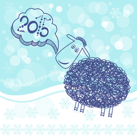 Chinese Zodiac 2015 - Year of the Sheep. New year card, vector illustration, sketch Vector