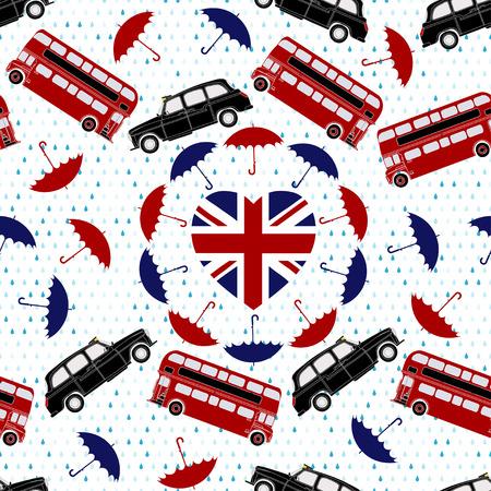Love United Kingdom symbol. Heart flag, double-decker, London taxi, umbrellas, rain . Vector illustration. Vector