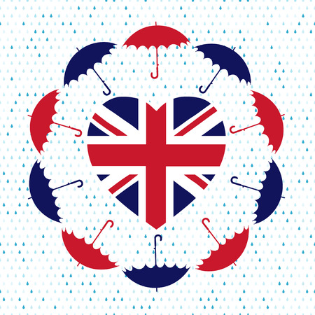 Love United Kingdom symbol. Heart flag, umbrellas, rain . Vector illustration. Vector