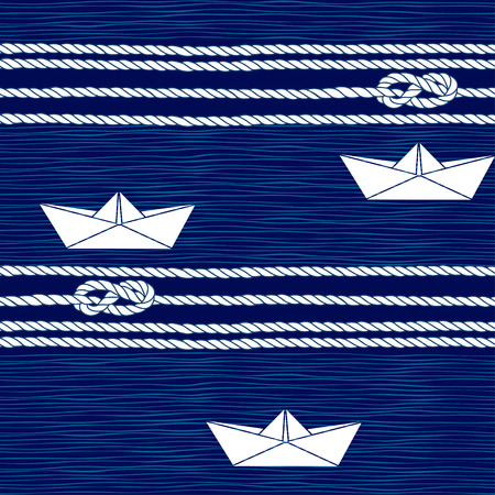 Seamless pattern with marine rope, knots and boats on a blue background.