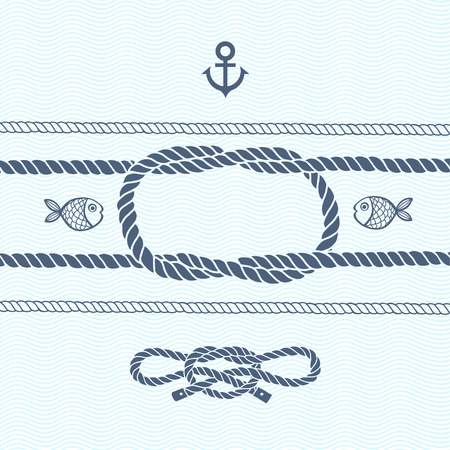rope: Nautical card with frame, anchor,marine knots, ropes and fish.