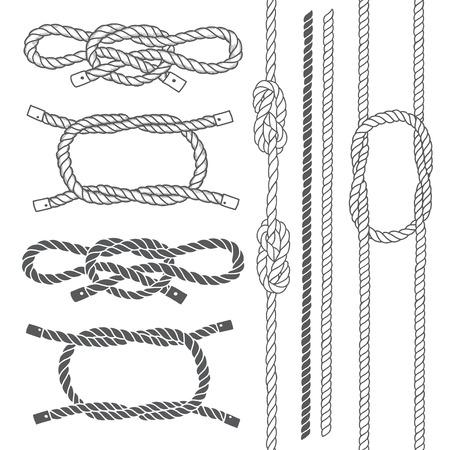 Set de corde marine, noeuds. éléments de vecteur sur un fond blanc. Hand-drawn illustration vectorielle. Vecteurs