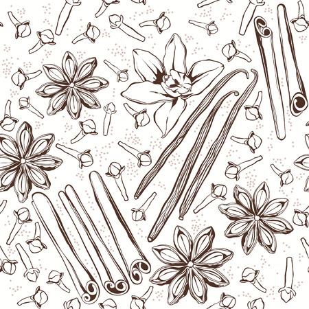 clous de girofle: Seamless pattern avec des �pices: cannelle, anis �toil�, de vanille, clous de girofle. Hand-drawn illustration vectorielle. Illustration