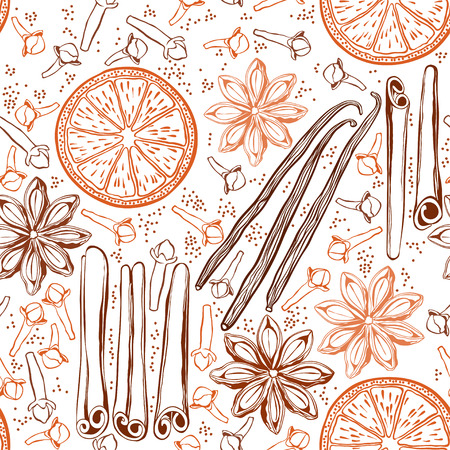 spices: Seamless background with spices and citrus fruit. Hand-drawn vector illustration. Illustration